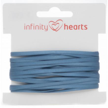 Infinity Hearts Satinbånd Dobbeltsidet 3mm 338 Blå - 5m