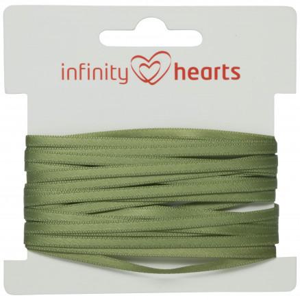 Infinity Hearts Satinbånd Dobbeltsidet 3mm 593 Armygrøn - 5m