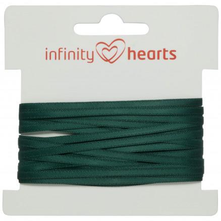 Infinity Hearts Satinbånd Dobbeltsidet 3mm 587 Mørk Grøn - 5m