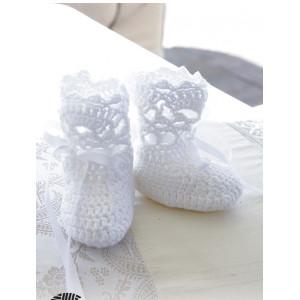 So Charming Socks by DROPS Design - Baby Tøfler Hækleopskrift str. 15/17 - 22/23