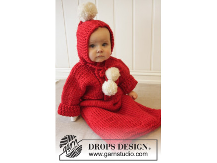 Image of   The First Noel by DROPS Design - Baby Kørepose Strikkeopskrift str. 1/