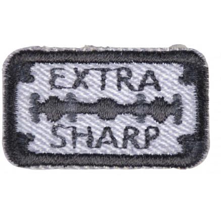 Strygemærke/Motiv EXTRA SHARP Sort/Blå 3,9x2,2cm - 1 stk