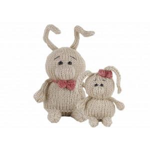 Go handmade Strikkeopskrift Kaninerne Laura 8 cm & Andy 11 cm