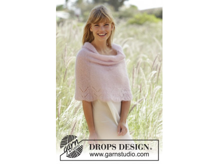 Image of   Candyfloss by DROPS Design - Poncho Strikkeopskrift str. S - XXXL