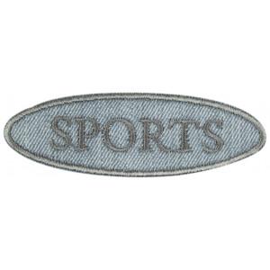 Strygemærke Sports Oval 2,5x8,5 cm - 1 stk