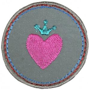 Strygemærke Rund Refleks med Hjerte 5,5 cm - 1 stk