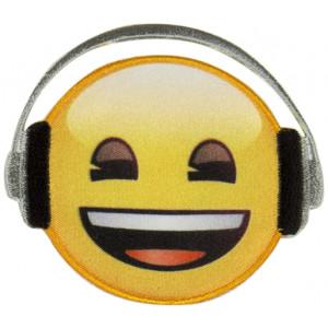 Emoji Strygemærke Smiley Høretelefon 6,5 cm - 1 stk