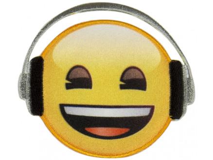 Image of   Emoji Strygemærke Smiley Høretelefon 6,5 cm - 1 stk