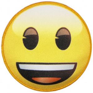 Emoji Strygemærke Smiley Smil 6,5 cm - 1 stk