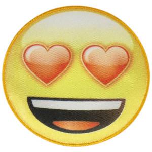 Emoji Strygemærke Smiley Hjerte 6,5 cm - 1 stk