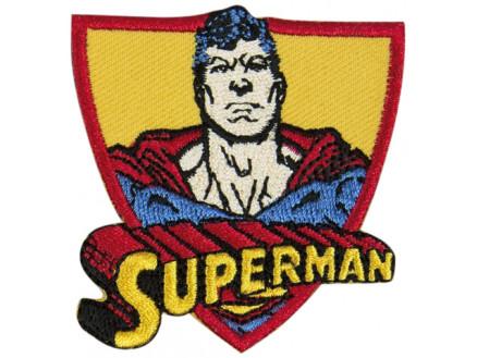 Image of   DC Comics Superman Strygemærke med tekst 6x5,5 cm - 1 stk