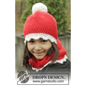 Santa's Favorite by DROPS Design - Hue og Hals Hækleopskrift str. 3/5 år - 10/12 år