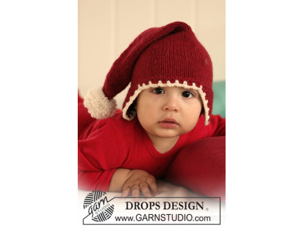 Image of   Santa Baby by DROPS Design - Baby nissehue Strikkeopskrift str. 1/3 md