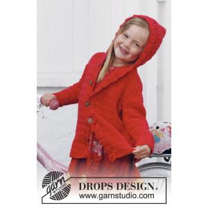 Little Red Riding Hood by DROPS Design - Børnejakke med hætte Hækleopskrift str. 3/4 år - 11/12 år