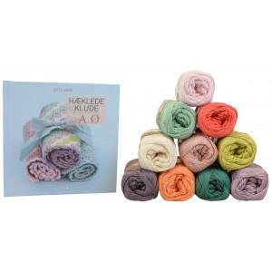 Bogen Hæklede Klude fra A til Ø + Mayflower Cotton 8/4 Garnpakke 10 farver - 10 stk