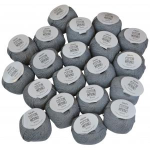 Drops Cotton Merino Garnpakke Unicolor 18 Mellemgrå - 20 stk