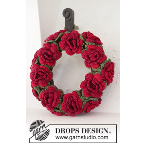 Christmas in Bloom by DROPS Design - Julekrans med blomster Hæklekit 22 cm