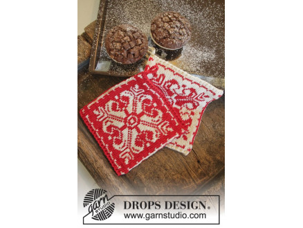 Baking Christmas by DROPS Design - Grydelapper Strikkeopskrift 20x19 c thumbnail