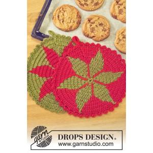 Santa's Recipe by DROPS Design - Grydelap Hækleopskrift 24 cm - 2 stk