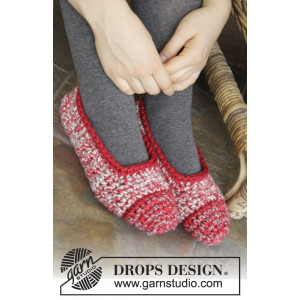 Merry Slippers by DROPS Design - Tøfler Hækleopskrift str. 35/37 - 42/44