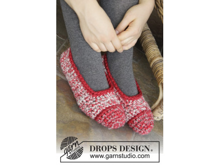 Merry Slippers by DROPS Design - Tøfler Hækleopskrift str. 35/37 - 42/ thumbnail