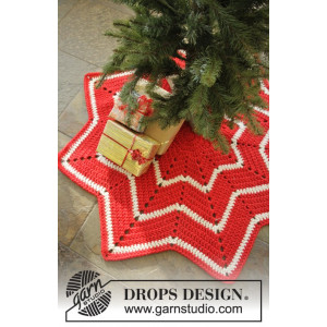Under the Christmas Tree by DROPS Design - Julestræstæppe Hæklekit 95 cm