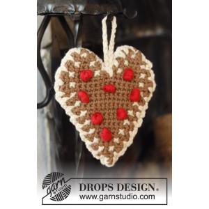 Gingerbread Heart by DROPS Design - Julehjerte Hæklekit 13x11 cm - 2 stk