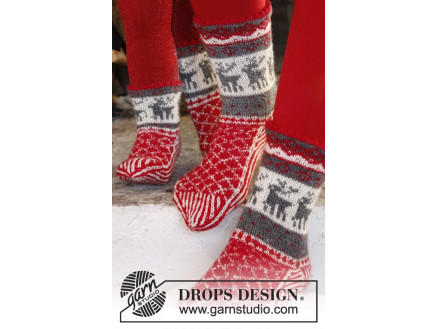 Image of   Christmas Stampede by DROPS Design - Sokker Strikkeopskrift str. 26/28