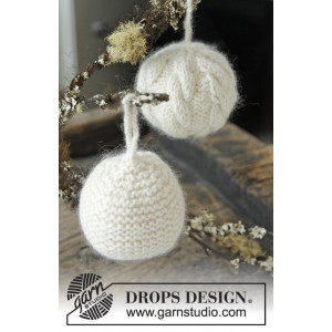 Let it Snow by DROPS Design - Julekugler Julepynt Strikkeopskrift 8 cm