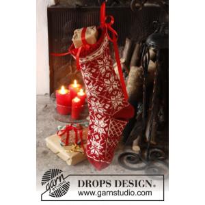 Mr. Kringle's Stocking by DROPS Design - Julesok Strikkeopskrift 35x25 cm