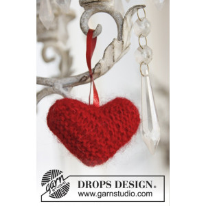 Sweet heart by DROPS Design - Julehjerte Julepynt Strikkeopskrift 5 cm