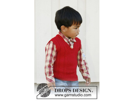 Image of   Justus by DROPS Design - Vest Strikkeopskrift str. 3/4 -11/12 år