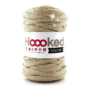 Hoooked Ribbon XL Stofgarn Unicolor Lurex 2 Golden Dust