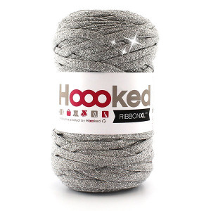 Hoooked Ribbon XL Stofgarn Unicolor Lurex 1 Silver Glitter