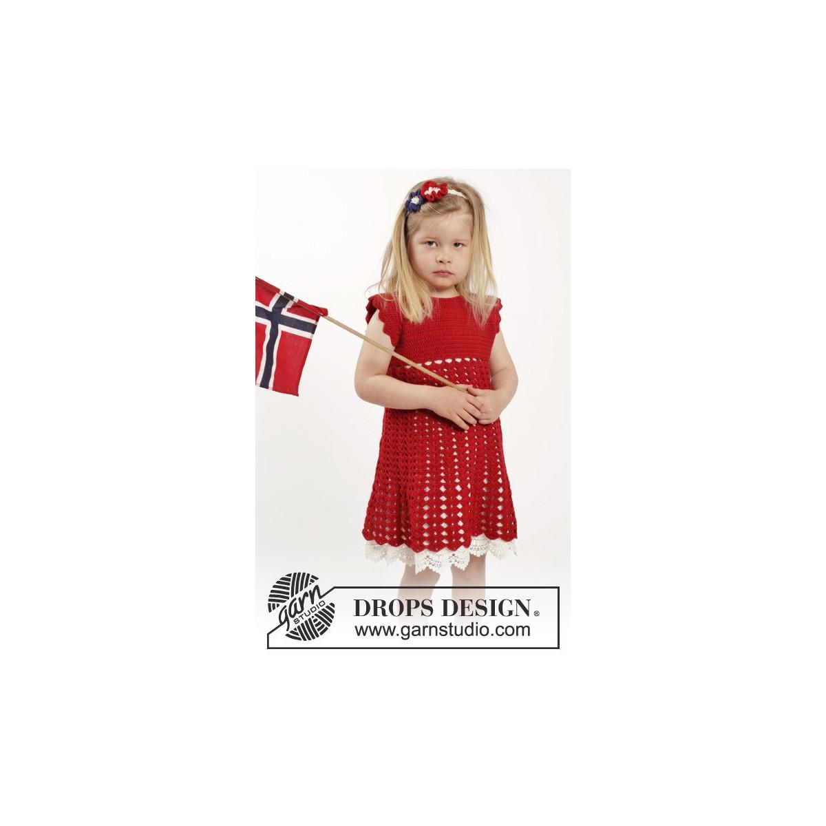 Princess Matilde by DROPS Design Kjole og Hårbånd Hækleopskrift str. 2 år 910 år Rito.dk