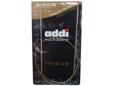 Image of   Addi Turbo Rundpinde Messing 60cm 2,50mm / 23.6in US1½