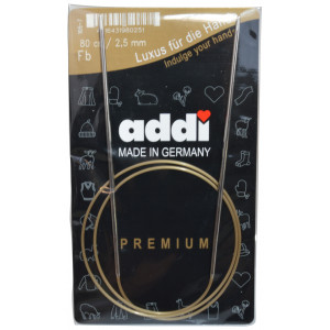 Image of   Addi Turbo Rundpinde Messing 80cm 2,50mm / 31.5in US1½