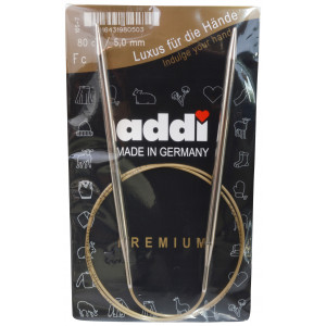 Image of   Addi Turbo Rundpinde Messing 80cm 5,00mm / 31.5in US8