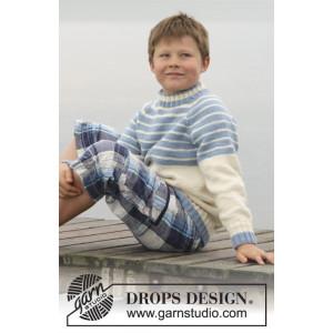 Water Stripes by DROPS Design - Bluse Strikkeopskrift str. 3/4 - 13/14 år