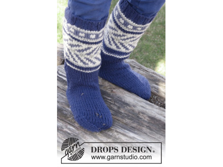 Image of   Little Adventure Socks by DROPS Design - Sokker Strikkeopskrift str. 2