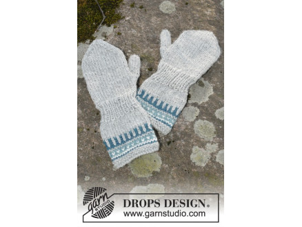 Image of   Wild Blueberrie Mittens by DROPS Design - Vanter Strikkeopskrift str.