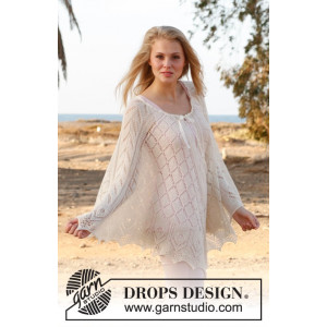 Honeymoon by DROPS Design - Poncho Strikkeopskrift str S/M/L - XL/XXL/XXXL