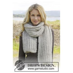 Grey Mist by DROPS Design - Halstørklæde Strikkeopskrift 175x35 cm
