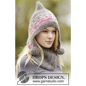 Sweet Winter Hat by DROPS Design - Hue og hals strikkeopskrift str. S/M - L/XL