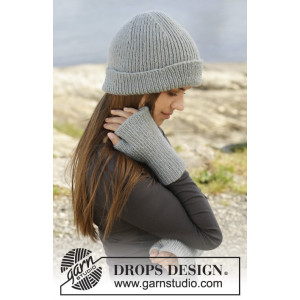 Paula by DROPS Design - Hue og fingerløse vanter strikkeopskrift str. S/M - M/L