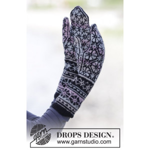 Moonflower Mittens by DROPS Design - Vanter Strikkeopskrift str. One size