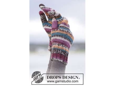 Image of   Autumn Stripes by DROPS Design - Vanter Strikkeopskrift str. S/M - L/X