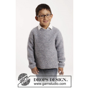 Modest Michael by DROPS Design - Bluse Strikkeopskrift str. 12/18 mdr - 9/10 år