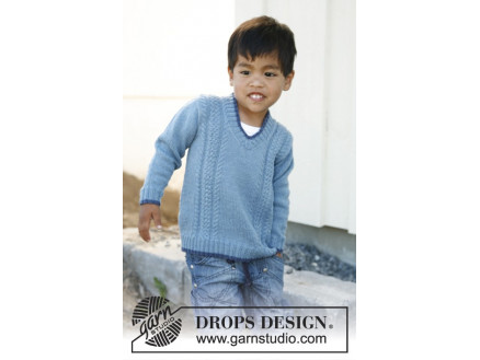 Image of   Julien by DROPS Design - Bluse Strikkeopskrift str. 3/4 - 11/12 år