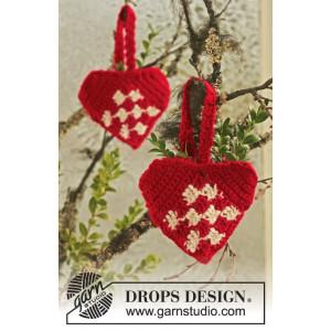 Heart Basket by DROPS Design - Julekurv Hækleopskrift 10 cm - 2 stk
